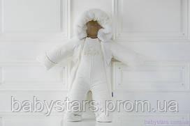 Детский зимний комбинезон трансформер на овчине для мальчика цвет молочный, код: 3011