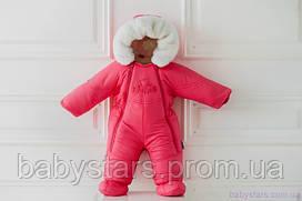 Детский зимний комбинезон трансформер на овчине для девочки цвет коралловый, код: 3011