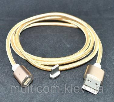 05-10-122GD. Шнур магнитный USB штекер А - штекер USB type C, съёмный на магните, золотистый, HQ, 1м