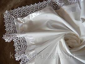 Авторская оригинальная крыжма для крещения с большим кружевом, лентой и бантами. Модель Markiza (Маркиза)