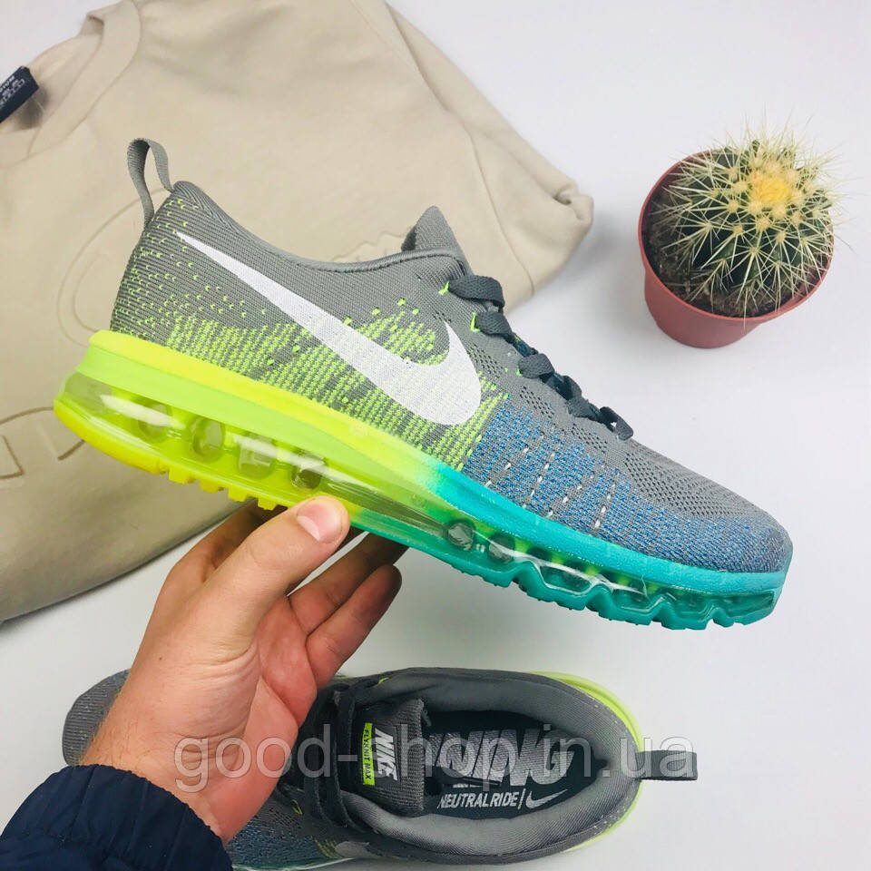 "Мужские кроссовки Nike Air Flyknit Max 2014 ""Gray/Green"" (люкс копия)"