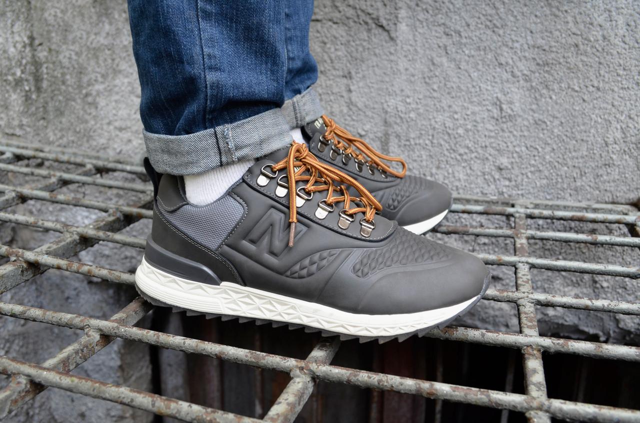 Кросівки чоловічі Нью Беланс Trailbuster Grey верх їх еко-шкіри підошва з піни Репліка