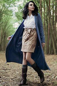 Голубой длинный кардиган-пальто PAULA с поясом