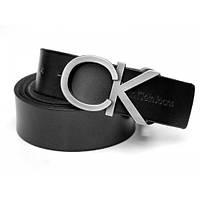 Ремень кожаный Calvin Klein черный (серебрянаяпряжка)