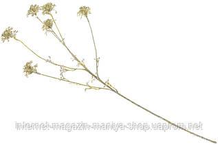 Декоративная ветка 709-357 с глитером 66см цвет - золото