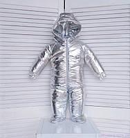 Детский демисезонный комбинезон на флисе, серебристый, код: 3015, фото 1