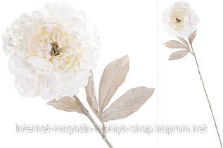 Декоративный цветок 709-372 Пион с легким глитером на лепестках цвет - сливочно-белый