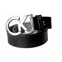 Ремень кожаный Calvin Klein черный (серебряная пряжка)