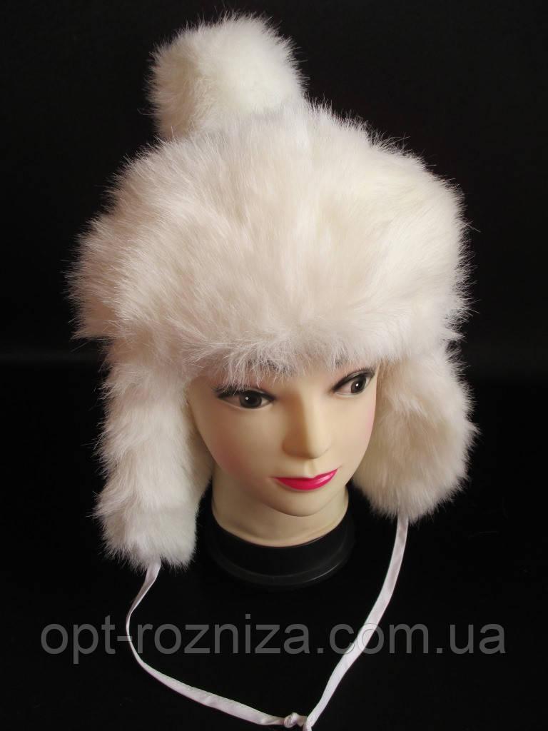 Шапка-вушанка для дівчинки на зиму.
