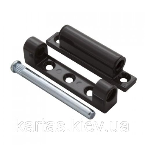 Петля  алюминиевая для металлопластиковых (ПВХ) окон и балконных дверей коричневая