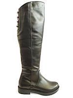 Сапоги зимние женские кожаные, ботфорты на каблуке Romax 900-62