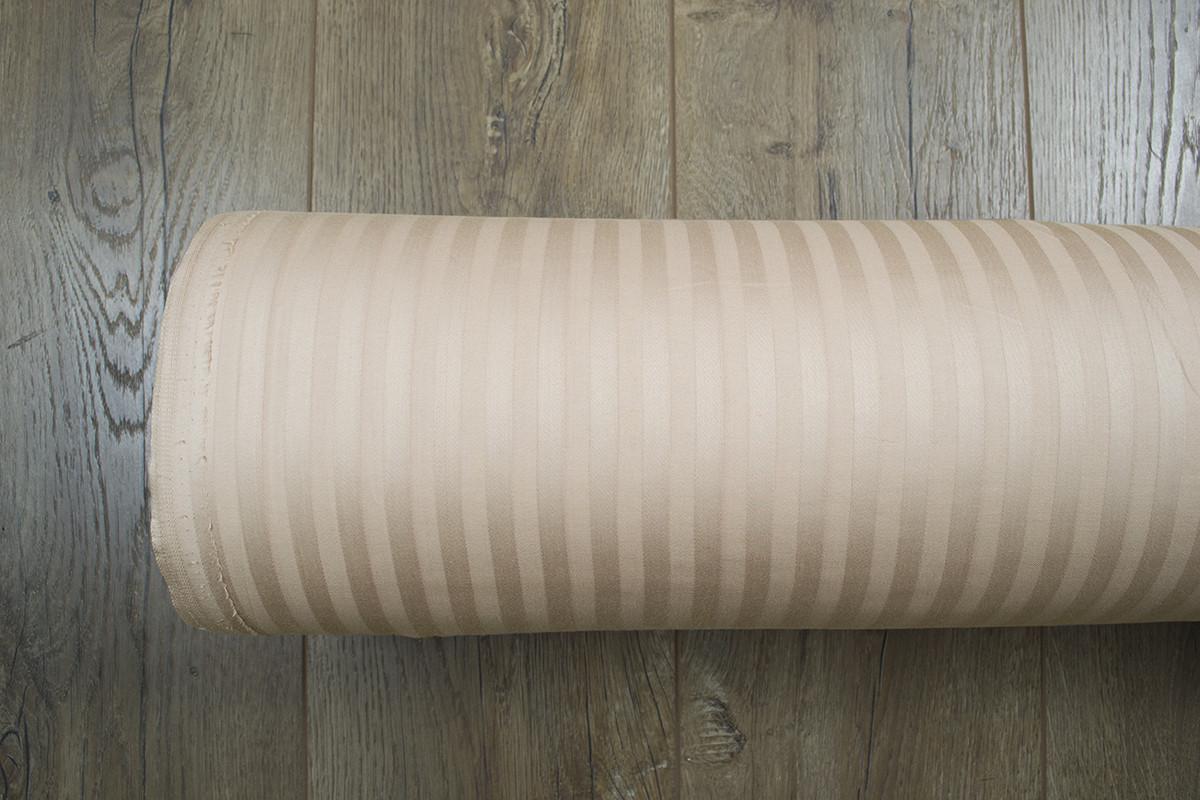 Ткань Турция сатин страйп 1*1 бежевый 280 ширина