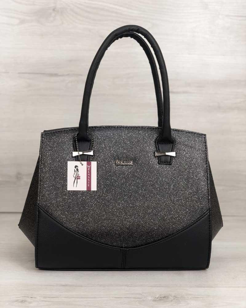 Каркасная сумка с черным блеском