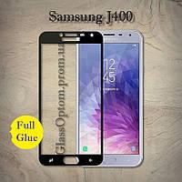 Защитное стекло 2.5D на весь экран (с клеем по всей поверхности) для Samsung J4 (2018) цвет Черный