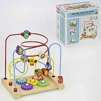 Пальчиковый лабиринт C31453 обучающая деревянная игра с фигурками фруктов шестеренки в коробке 3 вида, фото 1
