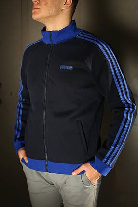 Толстовка зимняя мужская Adidas. Темно синяя, фото 2