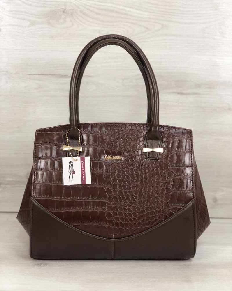 Женская сумка темно-коричневая повседневная каркасная с плечевым ремнем