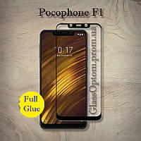 Защитное стекло 2.5D на весь экран (с клеем по всей поверхности) для PocoPhone F1 цвет Черный