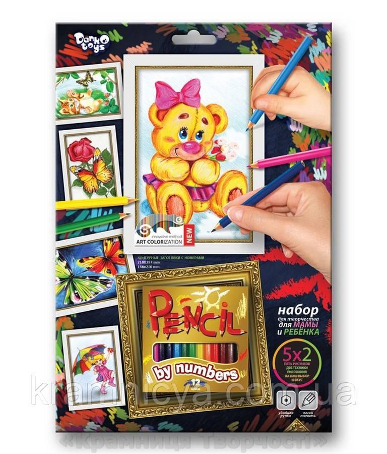 Картины-раскраски карандашами 'Мишка' девочка (PBN-01-05)