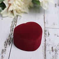 """[3.5x4x3.5см] Подарочный футляр для колец """"Бордовое бархатное сердце"""" коробочка из велюра"""