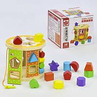 Обучающая игра деревянная сортер C31338 геометрические фигурки в коробке яркие цвета