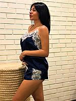Піжама синя з білим мереживом ТМ Exclusive., фото 1