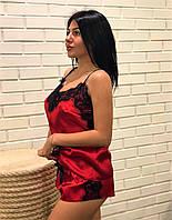 Червона жіноча піжама з мереживом майка і шорти, одяг ТМ Exclusive., фото 1