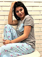 Фламинго пижама женская, футболка+штаны домашний комплект.