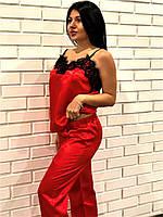Червона майка з мереживом і штани , піжамний комплект., фото 1