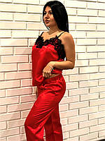 Красная майка с кружевом и штаны , пижамный комплект.