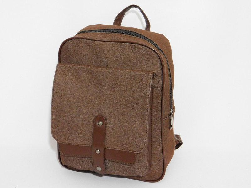 Джинсовый рюкзак коричневый