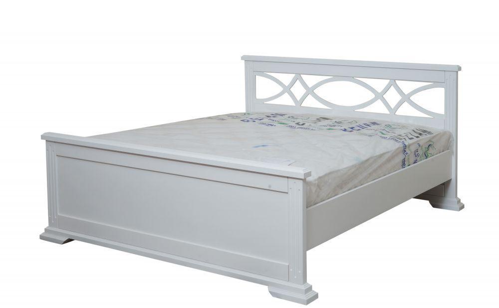 Кровать Мрия 1,6х2 м белая, массив ольхи+декор МДФ