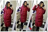 Жіноча зимова куртка подовжена Стьобаний плащівка Канада Розмір 42-44 44-46 48-50 52-54 В наявності 5 кольорів, фото 4