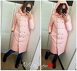 Жіноча зимова куртка подовжена Стьобаний плащівка Канада Розмір 42-44 44-46 48-50 52-54 В наявності 5 кольорів, фото 6