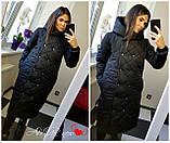 Жіноча зимова куртка подовжена Стьобаний плащівка Канада Розмір 42-44 44-46 48-50 52-54 В наявності 5 кольорів, фото 5
