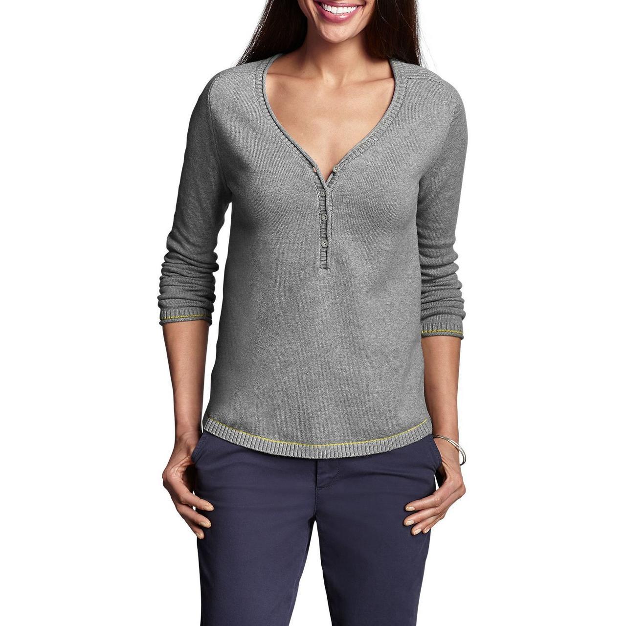 Пуловер женский Eddie Bauer Womens Sweatshirt Sweater Henley Solid HTR GRAY