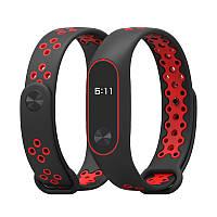 Ремешок Mijobs Sport Plus для Xiaomi Mi Band 2 черный с красным