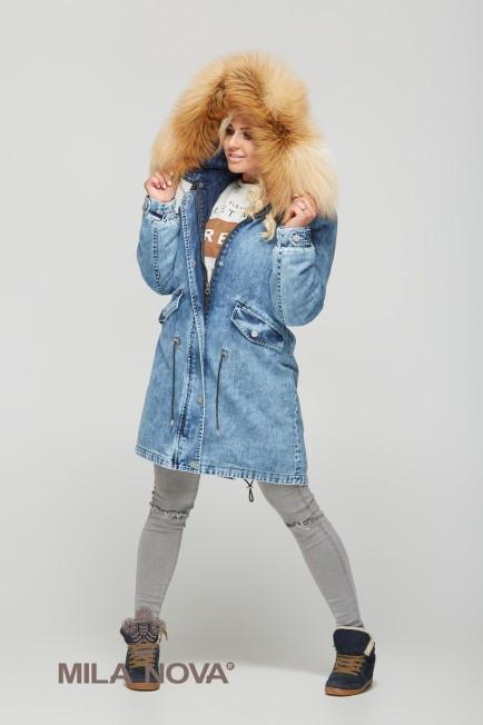 Зимняя джинсовая парка с натуральным мехом (разные цвета) ТМ Mila Nova -  EveryWear в 9ffea97839b