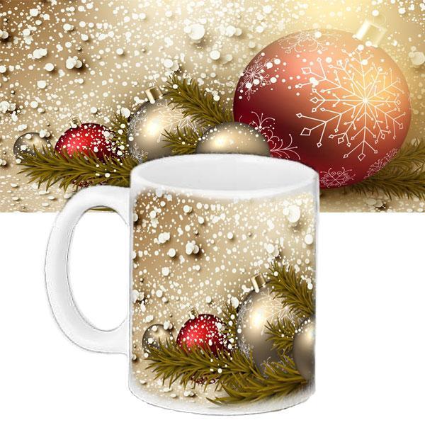 Чашка з принтом Новорічні кулі