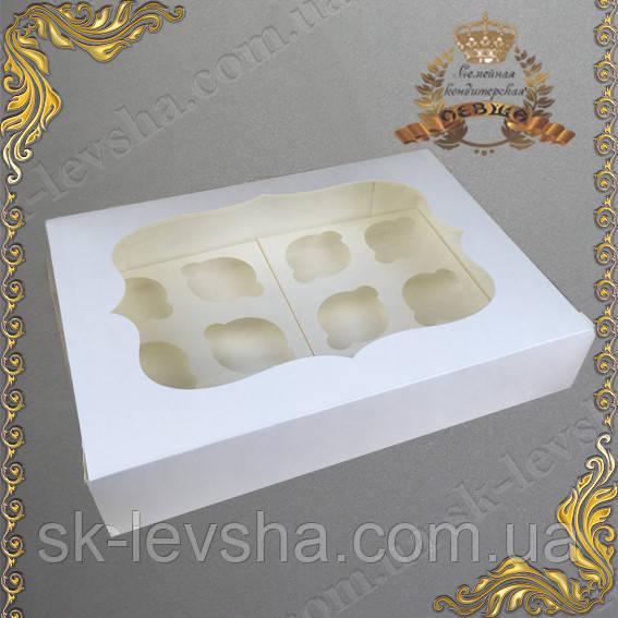 Коробка Молочная для 12-ти кексов с окном 340*250*90