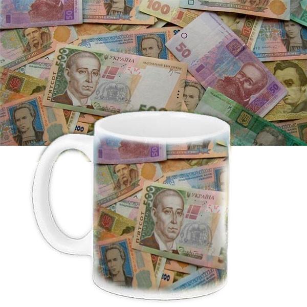 Чашка Moderika белая с рисунком  Банкноты (33007)