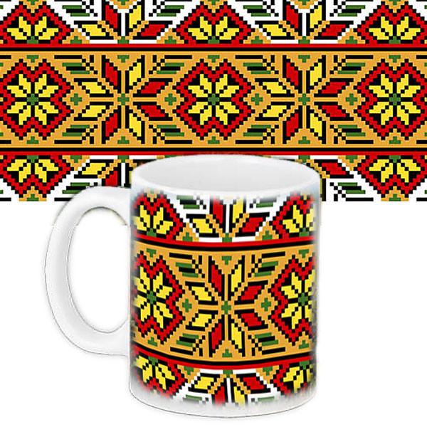 Чашка Moderika белая с рисунком  Украинский узор (33043)