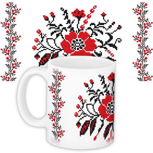 Чашка Moderika белая с рисунком Вышивка крестиком (33088)