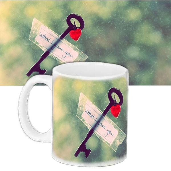 Чашка Moderika белая с рисунком Ключ от сердца  (33115)