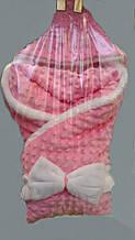 Плюшевый теплый конверт-одеяло на синтепоне для новорожденных