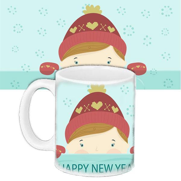 Чашка Moderika белая с рисунком Новый год  (33224)