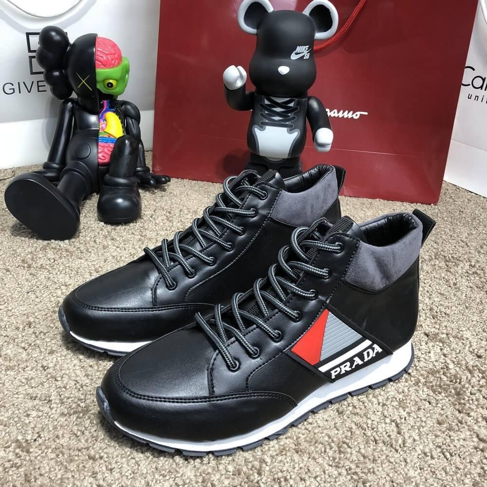 Мужские осенние кроссовки Prada Mechano Mid Sneakers Black - Интернет  магазин BLOOM в Киеве f146d6ab5dc