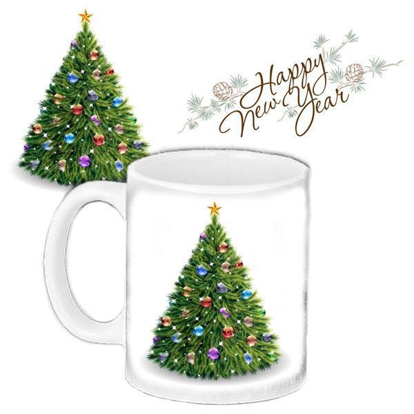 Чашка Moderika біла з малюнком З Новим роком (33365)