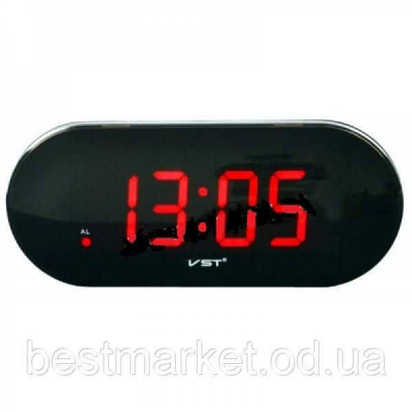 Часы электронные vst-717 Red, настольные, сетевые, зеленый led-дисплей, будильник с отсрочкой сигнала