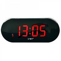 Часы электронные vst-717 Red, настольные, сетевые, зеленый led-дисплей, будильник с отсрочкой сигнала, фото 1